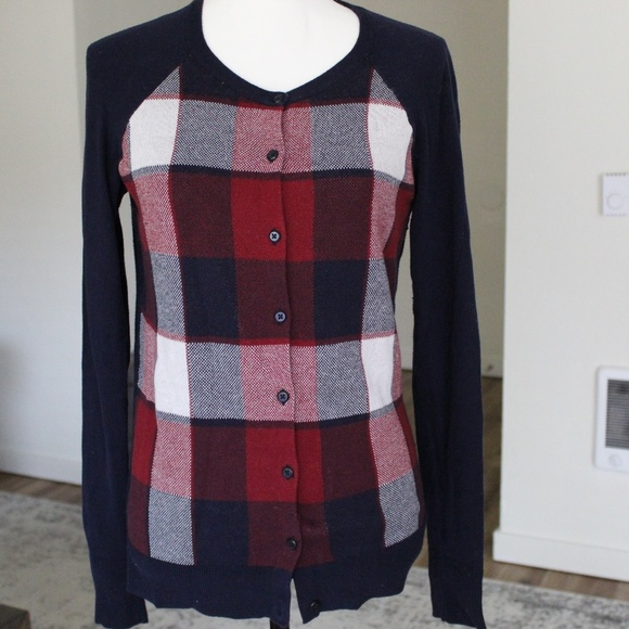 Navy, Red and White Plaid Front Cardigan